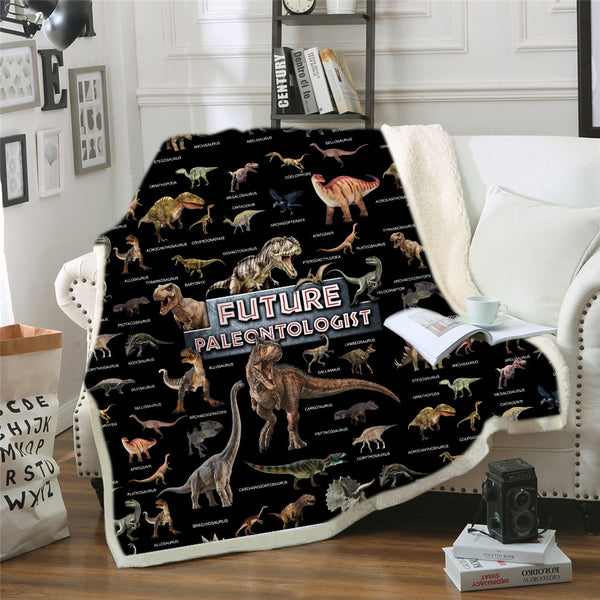 Dinosaur Family Blanket for Kids Cartoon Microfiber Jurassic Plush Sherpa Throw Blanket on Bed Sofa Boys Bedding B1000