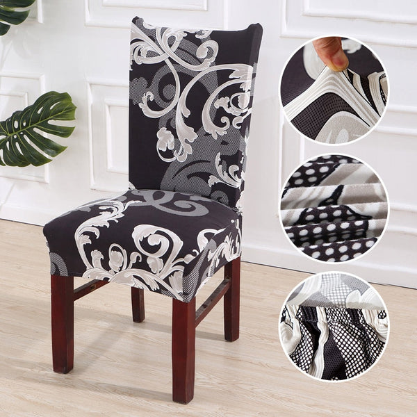Elastic Chair Cover Floral Spandex Dining Stretch Removable Anti-dirty Slipcover for Party Office Hotel Banquet Minimalist Decor