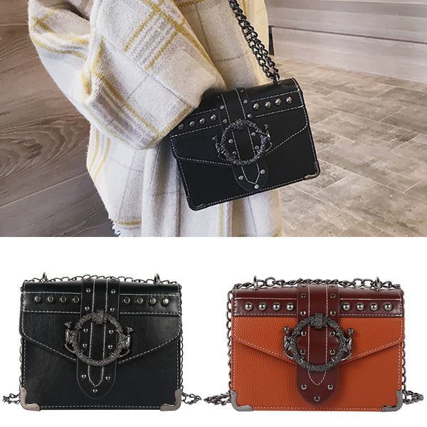 2019 New PU Leather Women's Designer Handbag Rivet Lock Chain Square Crossbody Bag