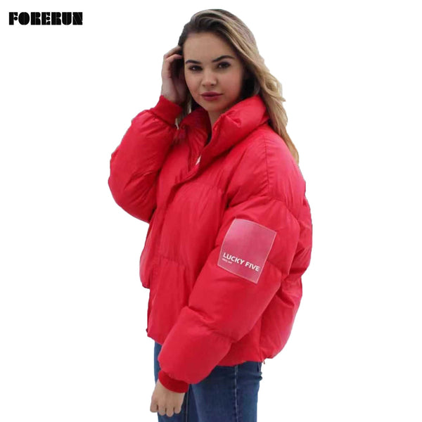FORERUN Women Winter Oversized Jacket  Warm Solid color Puffer Jacket  LUCKY FIVE Lable Standard Collar Bubble Coat Parkas Mujer 2019