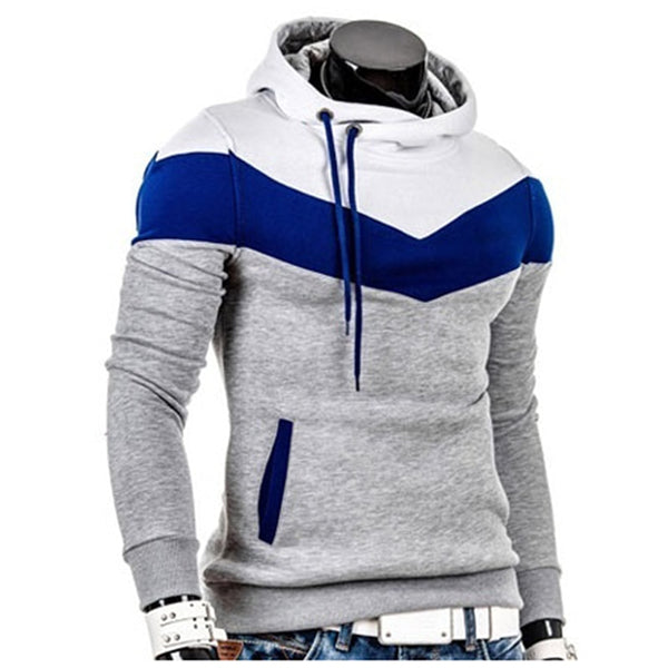 Men's Sweatshirt Male Stitching Hooded Hip Hop Long Sleeve Sweatshirt Men Silm Hoodies Outwear