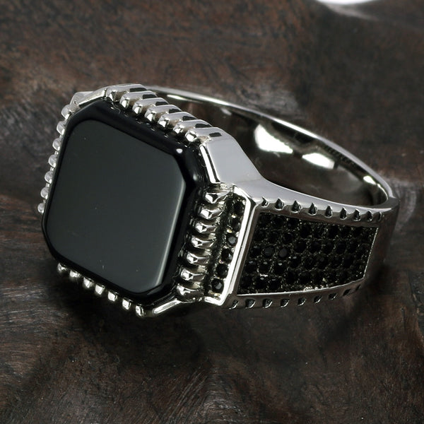 Genuine Solid 925 Sterling Silver Ring For Men  With Natural  Square Onyx