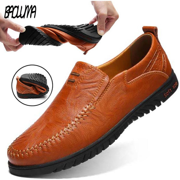 Hot ! Men's Genuine Leather Casual Loafers Flat Breathable Moccasins type Italian Designer