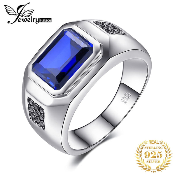 JewPalace 4.3ct Black Spinel Created Sapphire Ring 925 Sterling Silver Rings for Men Wedding Rings Silver 925 Gemstones Jewelry