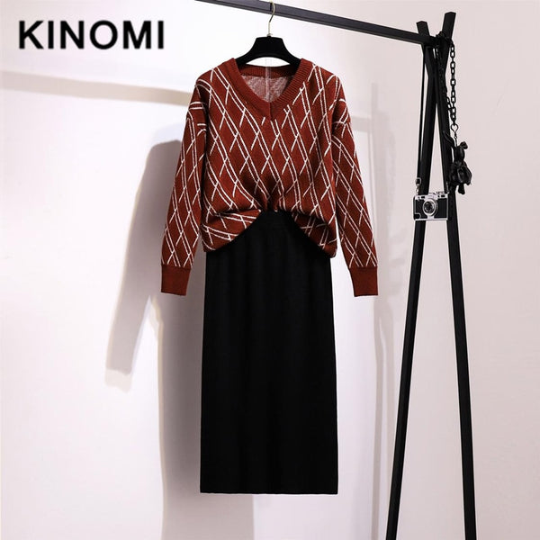 KINOMI Women's Autumn Winter Clothing Set Striped Knitted Warm V-Neck Sweater and Knit Wrap Midi Skirts Suits