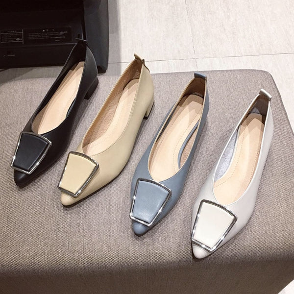 Women's Pumps Shoes, Pointed Low Heel (1cm-3cm) Slip-On