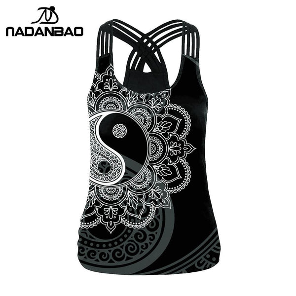 NADANAO Classic Mandala Tops For Women Tai Chi Sling Vest Top Aztec Round Ombre Flower Tank Tops Sexy Hollow Out T-Top