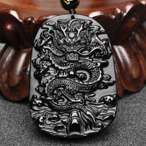 Natural Black Obsidian Dragon Pendant Beads Necklace Hand-Carved Amulet