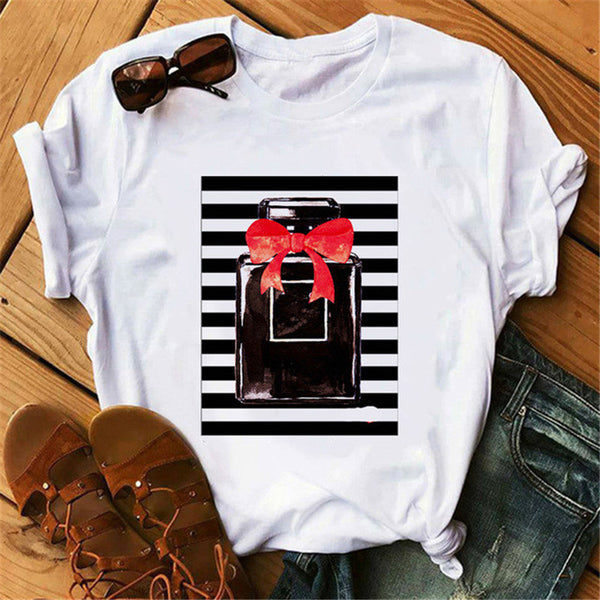 Perfumer Floral Stripe T Shirt Women Summer Fashion Shirt Female Streetwear T-shirt Vogue Clothing