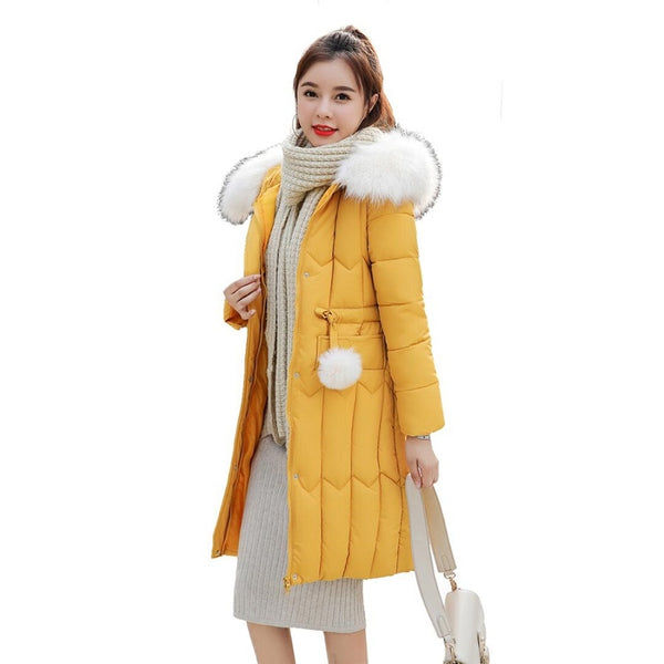 Plus Size 5XL Thick Big Fur Women Long Down Parkas Slim Winter Jacket Women Hooded Coat New Cotton Padded Ladies Jackets Female