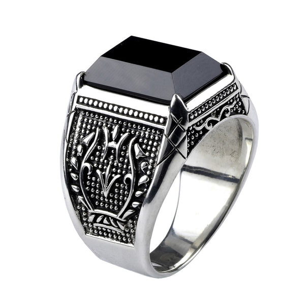 Real Pure 925 Sterling Silver Mens Rings With Black Onyx Natural Stone