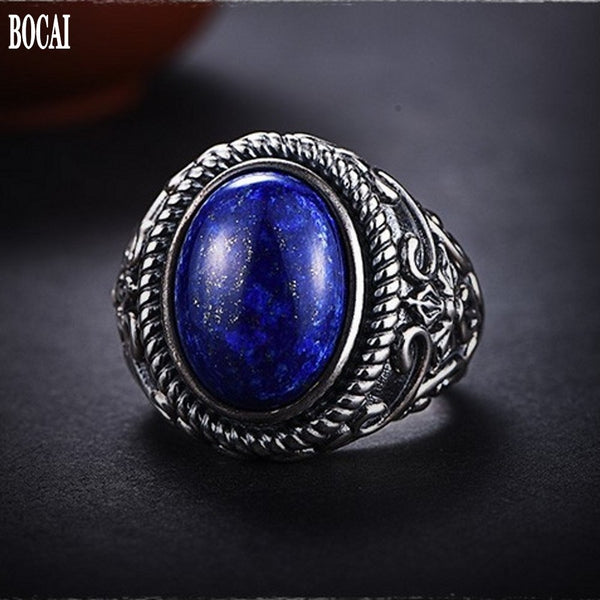 Men's lapis lazuli 100% real 925 silver simple index finger ring