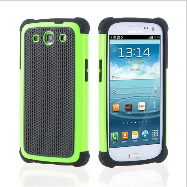 S3 Neo Dual Layer Ball Grain Plastic Case Shockproof Cover For Samsung Galaxy I9301 S3 Duos i9300i Hybrid Back Cover