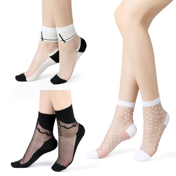 Sexy Lace Mesh Fishnet Socks Mixed Fiber Transparent Stretch Elasticity Ankle Net Yarn Thin Women Cool Socks 1pair=2pcs 2305
