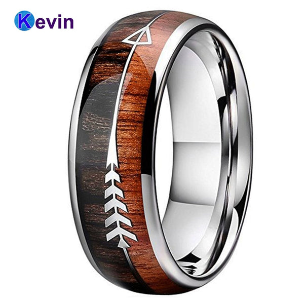 Men's Silver Wedding Ring Tungsten Carbide Ring With Double Wood And Steel Arrow Inlay