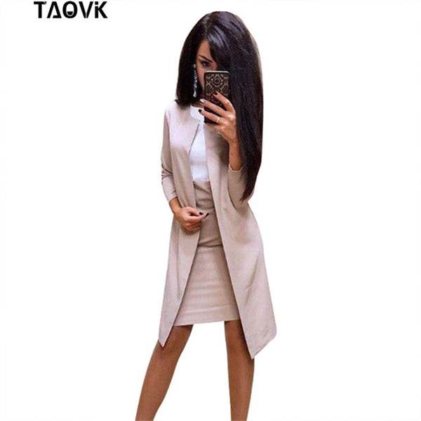 TAOVK Dress and Blazer Suit Elegant 2 Piece Sets Women Long Blazer Jacket + Sleeveless Slim Dresses Suits Femme