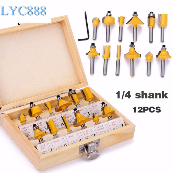 Top Quality 12pcs/set 1/4 Shank Mill Milling Wood Cutters Tools Milling Cutter Machine Tools Set Router Bit For Wood