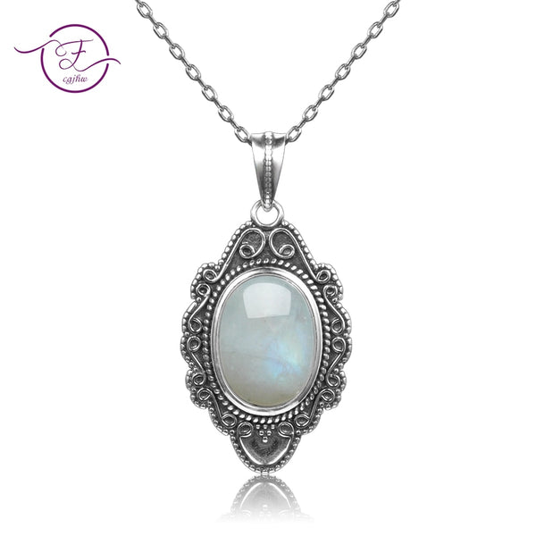 Top Quality Women's Pure Sterling Silver Vintage Oval Rainbow Moonstone Pendants Necklace Women's Handmade Fine Jewelry