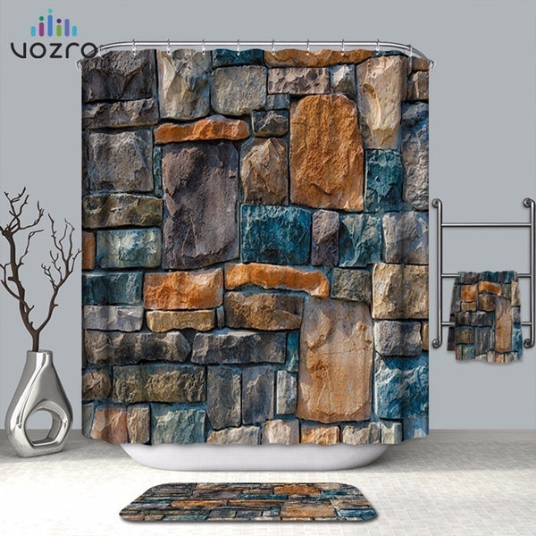 VOZRO Bathroom Shower Curtain Quality Natural Waterproof Cloth 3D Farm Decorative Wall Totem Simple Space Cortina Douchegordijn