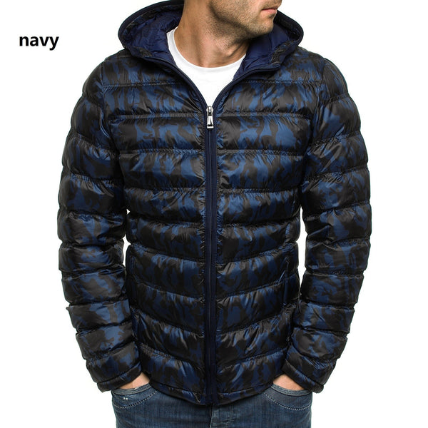 WENYUJH  Winter Mens Jacket Warm Padded Hooded Overcoat Casual Brand Print And Pockets Jacket Parkas Plus Size