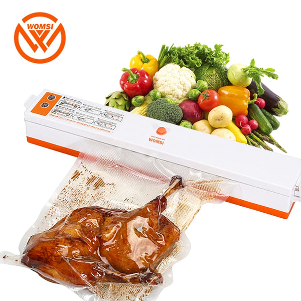 WOMSI 220V/110V Household Food Vacuum Sealer Packaging Machine Film Sealer Vacuum Packer Includes 15Pcs bags