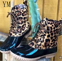Women's Waterproof Winter Boots Mid-Cal  Warm Ladies Snow Boots Patchwork Rubber Leopard print Botas Mujer 43