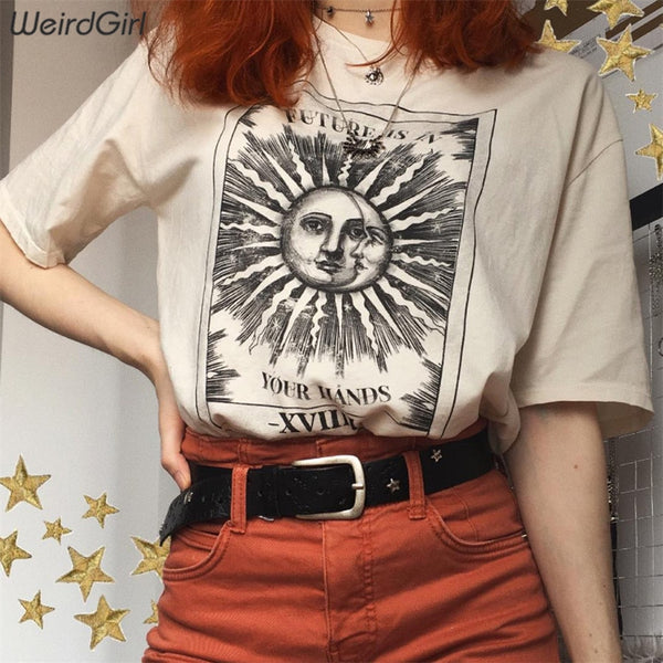 Weirdgirl women casual fashion t-shirt khaki letter sun moon print loose o-neck half sleeve elastic stretched summer home new