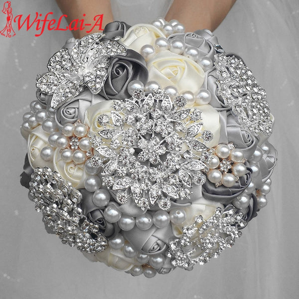 WifeLai-A 1Piece Elegant Custom Ivory Bridal Wedding Bouquets Stunning Pearls Beaded Crystal Brooch Stitch Wedding Bouquets W230