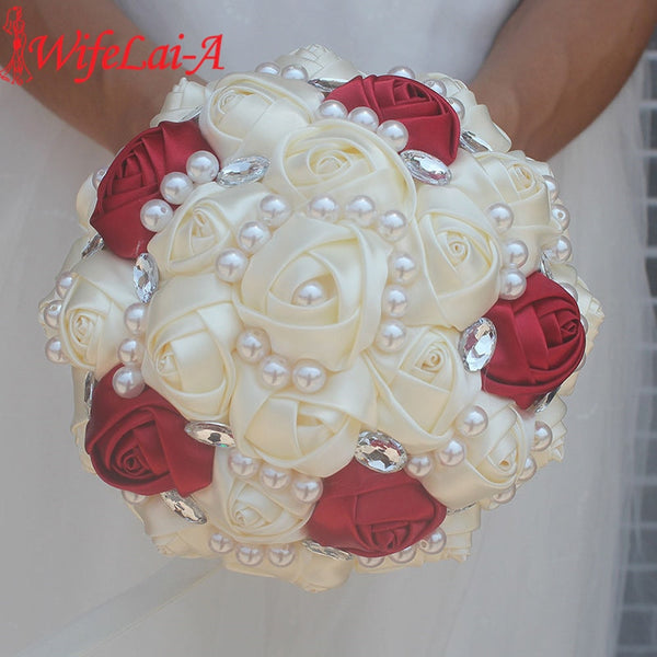 WifeLai-A Customizable Ivory Wine Red Bridal Wedding Bouquets Pearls Crystal Silk Flowers Burgundy Bridal Bouquets de noiva W234