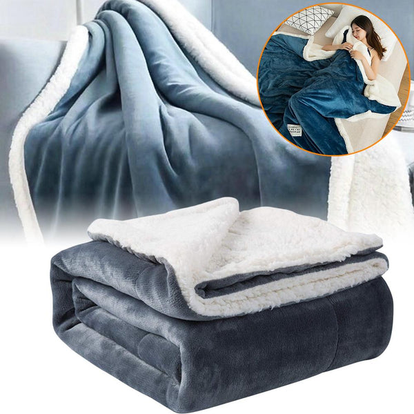 Winter Cashmere Blanket Thick Double-layer Flannel Lambskin Warm Blanket
