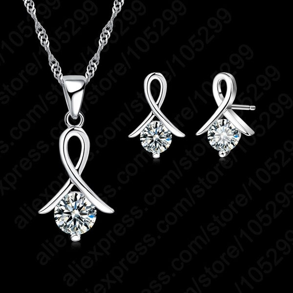 Women's 925 Sterling Silver Fashion Necklace and Matching Earrings Jewelry set Cubic Zircon For Pierced Ears