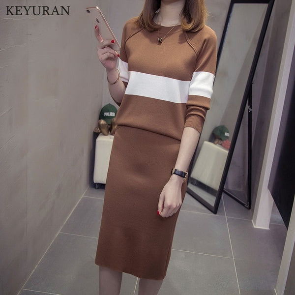 Women's Long Sleeve Pullover Sweater Top + Pencil Skirt Suit Elegant Woman Knitted Skirt 2pcs Sets Plus Size Clothing