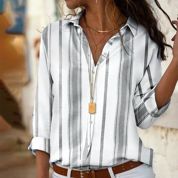Women Striped Blouses Long Sleeve Turn Down Collar Office Shirt Leisure Blouse Shirt