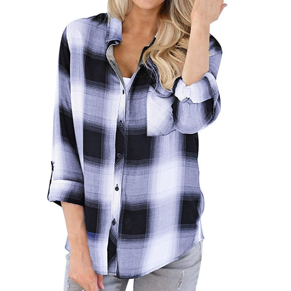 Womens Tops / Blouse Plaid design Long Sleeve women's top Fashion Clothing
