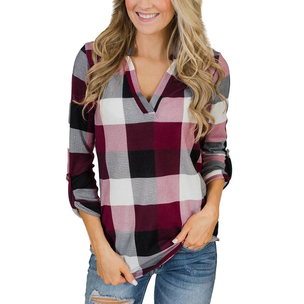 Womens Tops And Blouses Plaid Long Sleeve Shirt  Ladies Tops Fashion Clothing