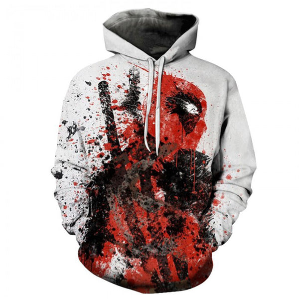 YOUTHUP Men's 3d Hoodies Deadpool Print Hooded Pullovers long Sleeve  Anime Hoodies Sweatshirts