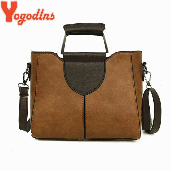 Yogodlns PU Leather Shoulder Bag Ladies Top-handle Handbags Famous Brands Women Tote Casual Crossbody Bag Hot Sale