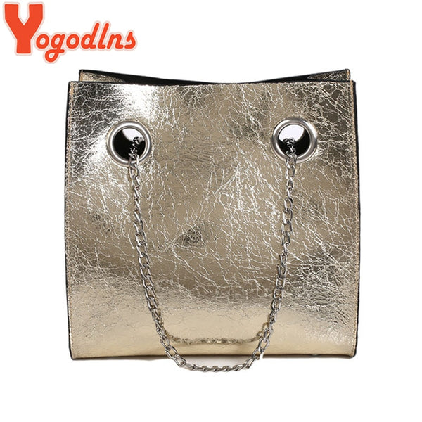 Yogodlns Simple Solid Color High Capacity Ladies Crossbody Bags Chain Shoulder Bag for Women Large Hand Totes Travel Shopping