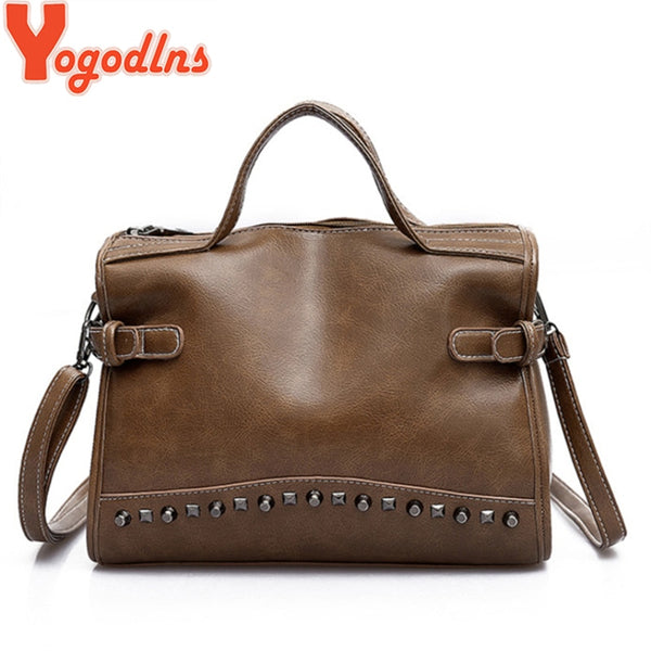 Yogodlns Ladies Handbags with Rivets Larger Women's Bag Shoulder Bag Motorcycle Messenger Crossbody Bag