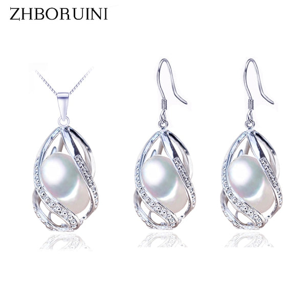 925 Sterling Silver Natural Freshwater Pearl  Necklace & Earring Set