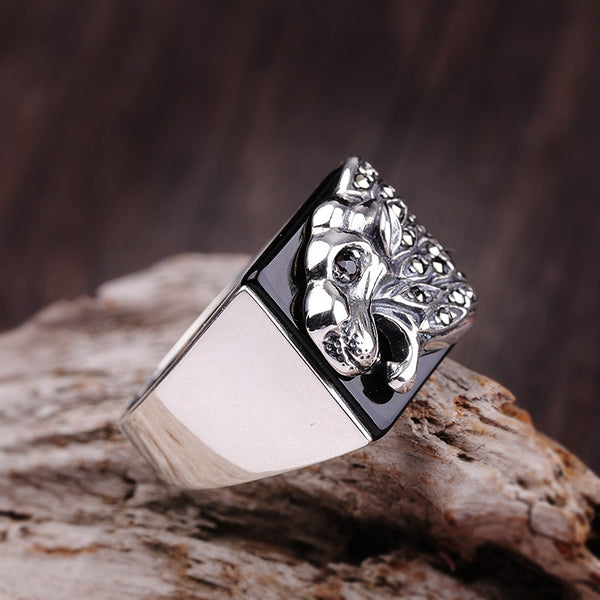authentic 925 Sterling Silver Silver Natural Black Onyx Ring Finger men fashion ring width exaggeration atmosphere shipping