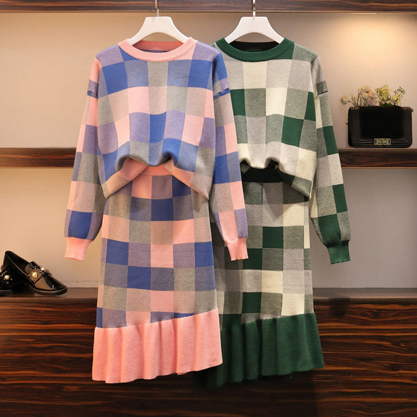 Women's winter outfits  knitted plaid o neck long sleeve sweater and irregular ruffle knit skirt 2 piece set ladies plus size