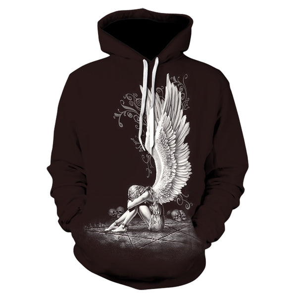 Men/women 3D sweatshirt angel girl skull hooded sweatshirt,