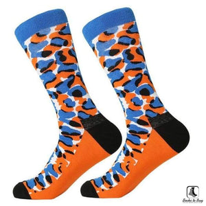 Blue and Orange Leopard Print Combed Cotton Socks - Socks to Buy 1