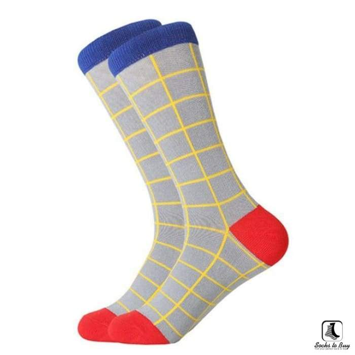 Blue Yellow Gray Red Tattersall Pattern Combed Cotton Socks - Socks to Buy 1
