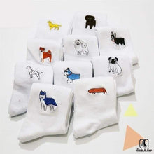Load image into Gallery viewer, Cute Doggy! Embroidered Socks - Socks to Buy 1