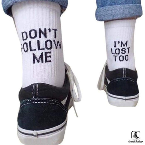Dont Follow Me Crew Socks - Socks to Buy 1