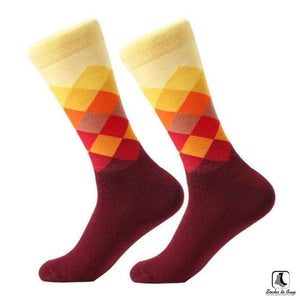 Gradient Color Chevron Combed Cotton Socks - Socks to Buy 9