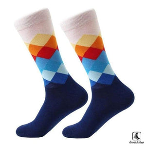 Gradient Color Chevron Combed Cotton Socks - Socks to Buy 4