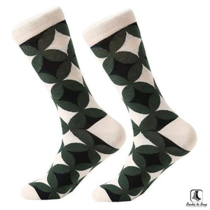 Overlapping Circles Grid Combed Cotton Socks - Socks to Buy 1
